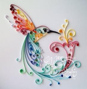 الگوی خام و طرح پرنده ملیله کاغذی