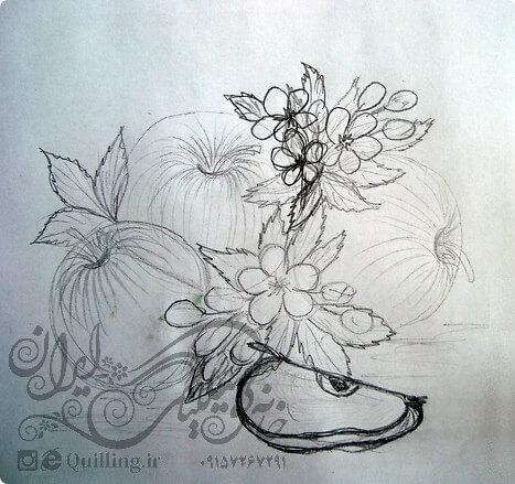 طرح خام و نمونه تابلوی سیب ملیله کاغذی