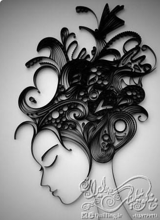 آموزش تابلوی کوئیلینگ موهای پریشان