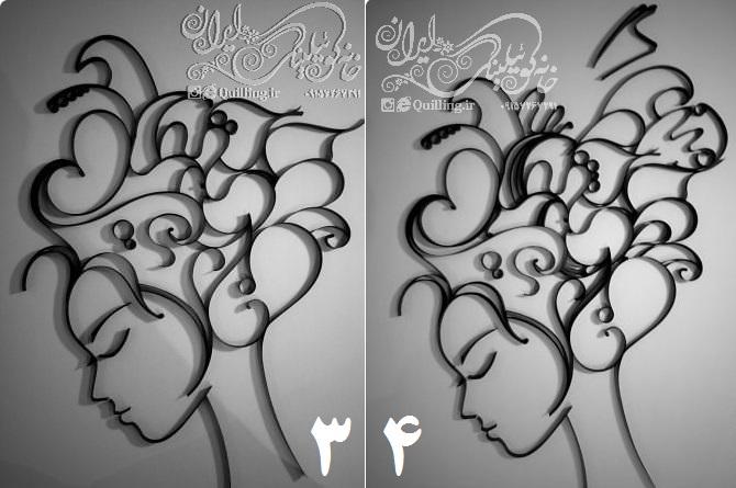 آموزش و الگوی تابلوی کوئیلینگ موهای پریشان