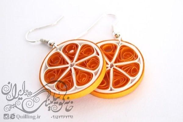 آموزش گوشواره پرتقالی کوئیلینگ